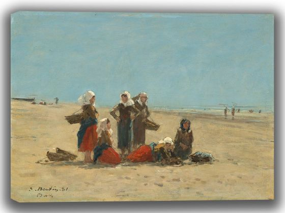 Boudin, Eugene: Women on the Beach at Berck. Fine Art Canvas. Sizes: A4/A3/A2/A1 (003955)